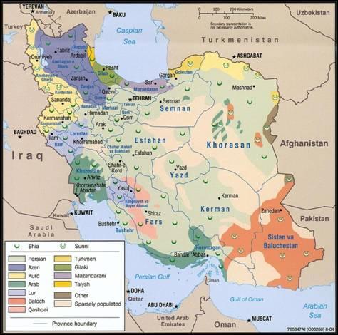 Иран, карта этнических и религиозных общин