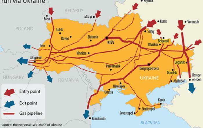 Схема газопроводов на Украине