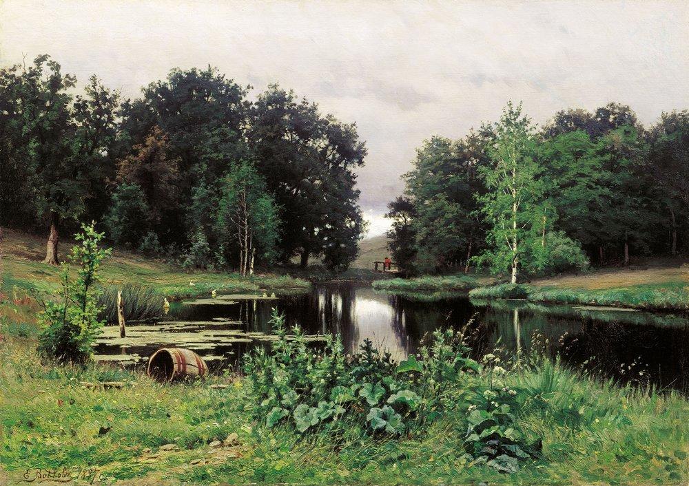 Пейзаж с прудом 1887 холст масло